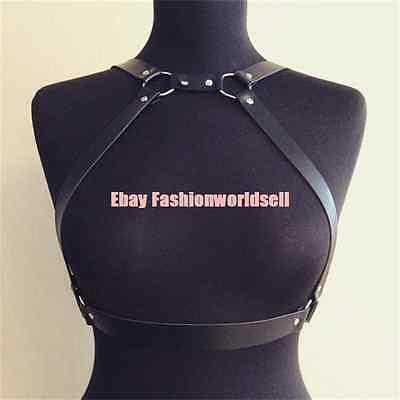 Sexy Handmade Leather Choker Harness Body Bondage Bra Bustier Waist Belt Straps