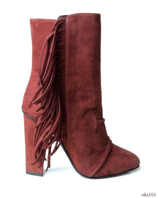 New  1075 Giuseppe ZANOTTI chocolate brown suede FRINGE ankle boots 37.5 7.5