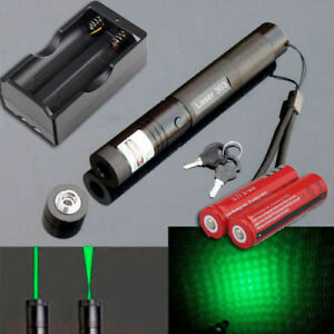 Tactical 532nm 1mw Green Laser Pointer Lazer Pen Beam 18650 battery Dual Charger