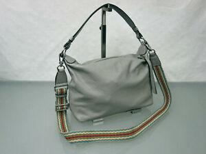 ABRO-Handtasche-Leder-Tasche-Schultertasche-Umhaengetasche-Bag-Grau-bunter-Riemen