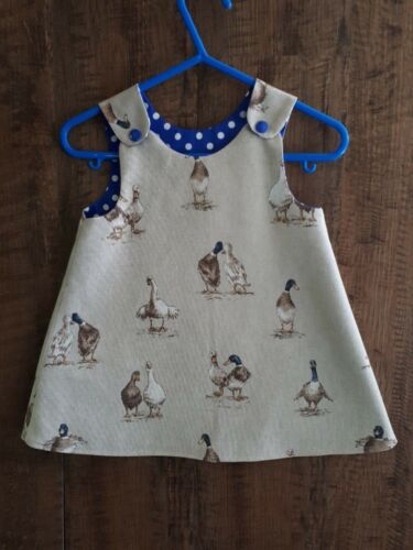 BNWT Girls Pinafore DUCKS design oatmeal linen Fabric BLUE  0-3-6-9-12-18-24m