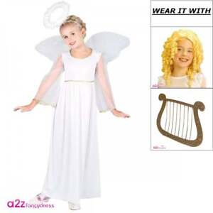 df8a04f49771 Girls Angel Costume Wings Halo Harp Wig Kids Nativity Play Christmas ...