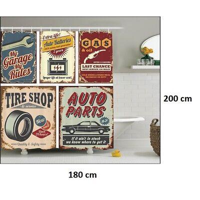 Rideau de douche plaque métal auto année 30 vintage 180 cm x 200 cm..Neuf