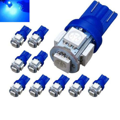 10 x T10 194,168,2825 5 x 5050 SMD LED Blue Super Bright Car Lights Lamp Bulb