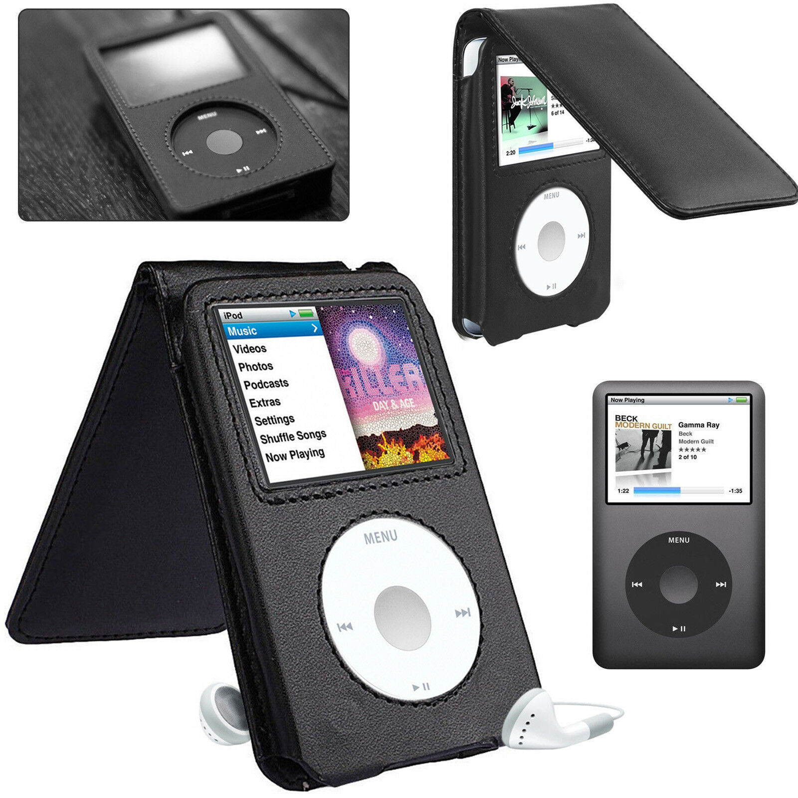 Genuine Leather Case Cover for Apple iPod Classic 80gb 120gb 160gb 6th Gen