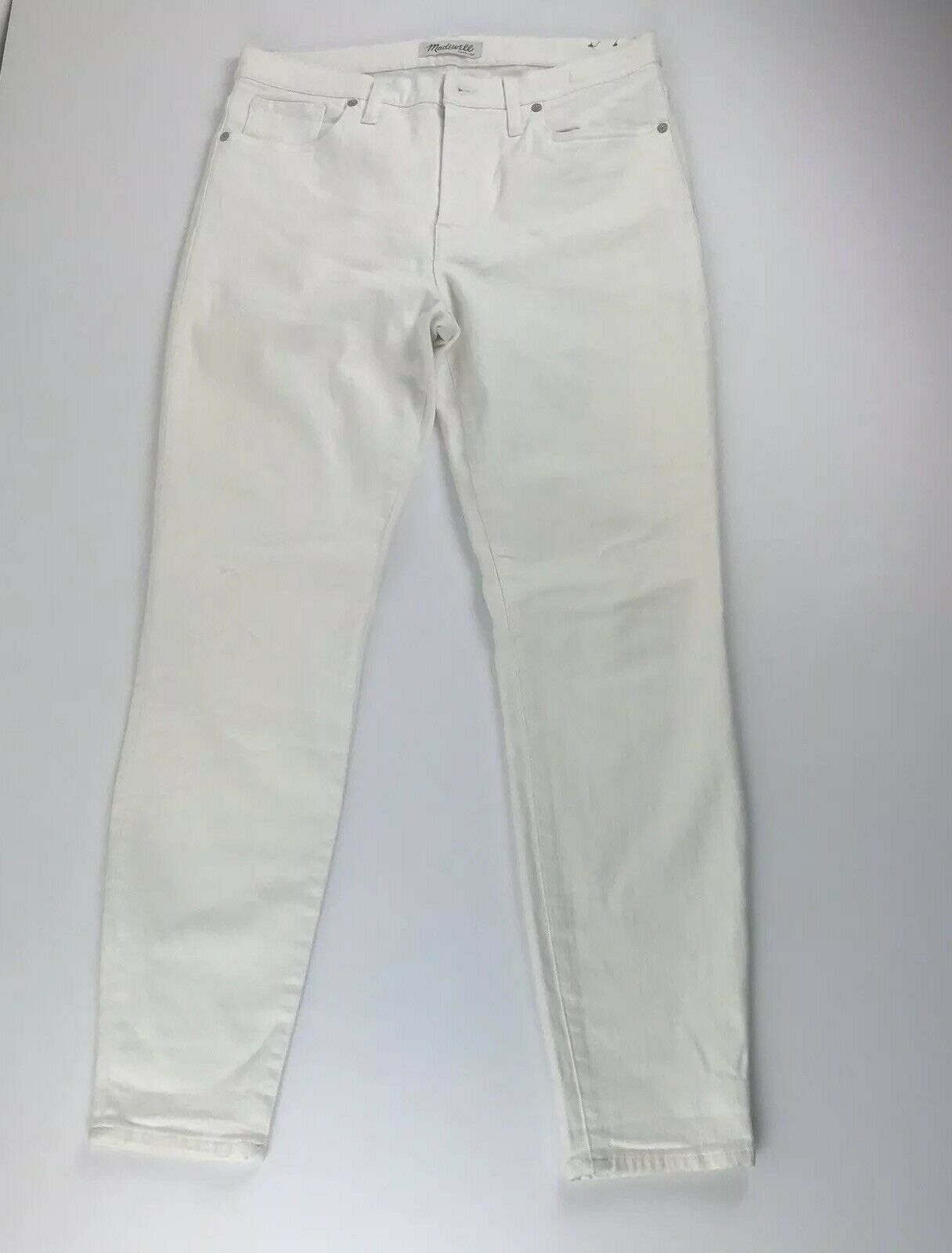 Madewell damen 31 Weiß Denim Jeans Pants High Rise Skinny Stretch  30  Inseam