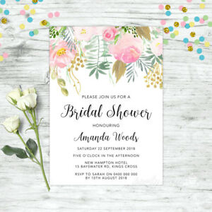 211d1997c90 Image is loading BRIDAL-SHOWER-INVITATIONS-PERSONALISED-INVITE-FLORAL-PINK- HIGH-