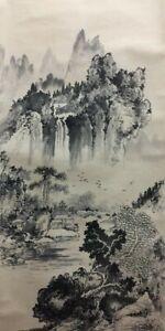 T0150 Japanese Hanging Scroll Kakejiku Landscape Paper Hand Paint Antique