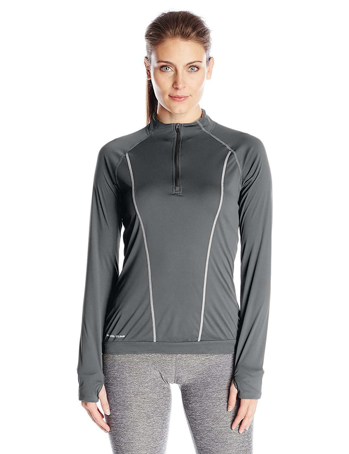 Pearl iZUMi  Women's Pursuit Long Sleeve Top, Shadow Grey Clementine, Medium  cheapest