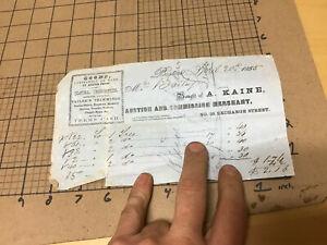 Original Paper Receipt 1855 A Kaine Auction Commission Merchant Boston Ma Ebay