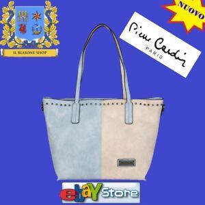 Mano Pierre beige Fashion Borsa Spalla Donna Azzurro Bicolore Cardin Shopper 8nnfB5q