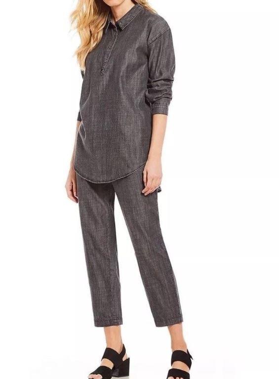 Eileen Fisher Negro  Tencel collar de algodón orgánico Hi-lo Denim Classic de súperdry XS  protección post-venta
