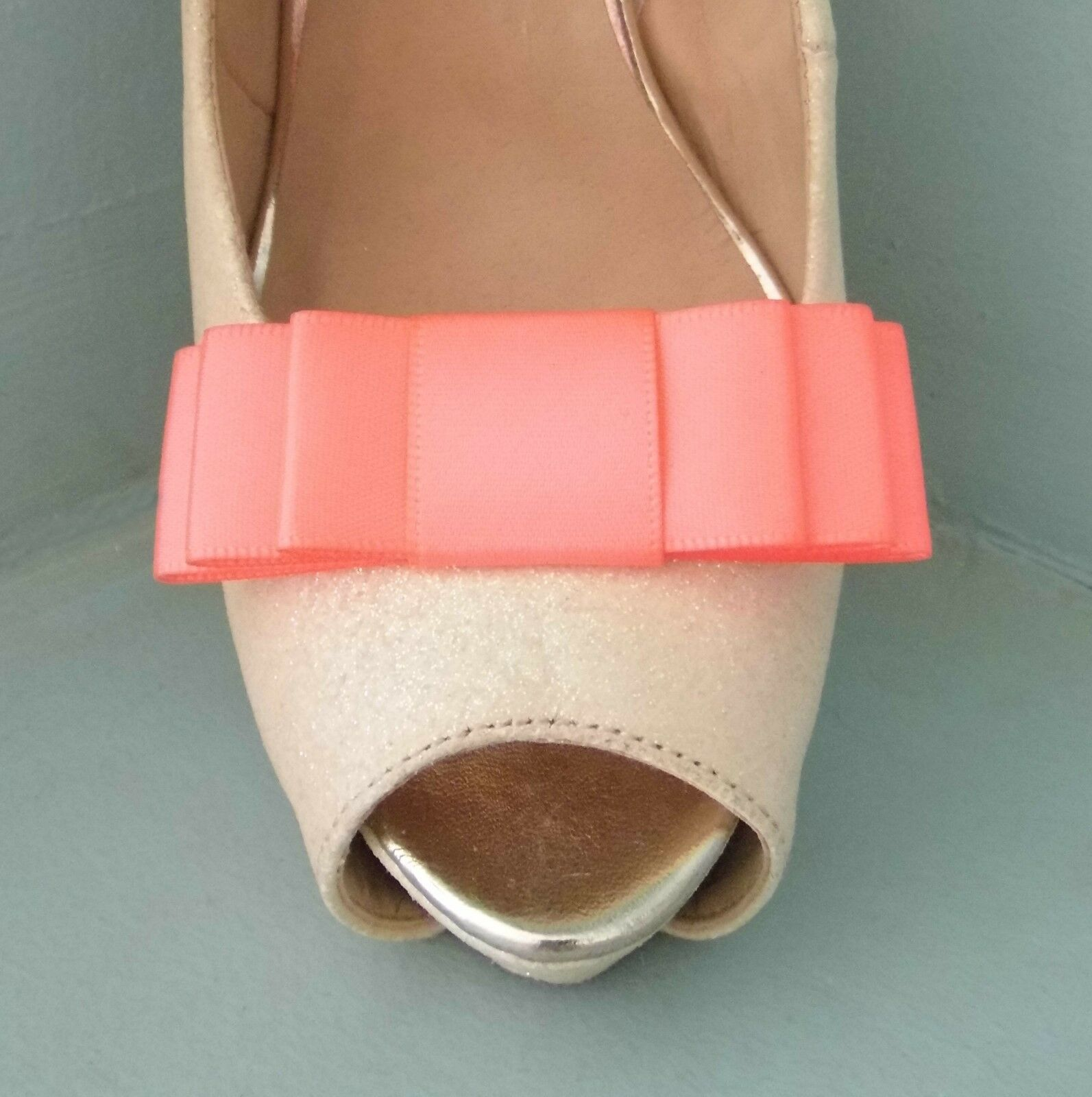 2 Handmade Coral Triple Bow Shoe Clips - other colours on request
