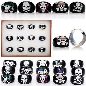 10/20/50pcs/Lots Black Skull Animal Children Kid Resin Lucite Rings Wholesale