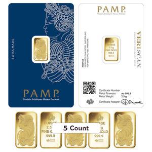 Lot-of-5-2-5-gram-Gold-Bar-PAMP-Suisse-Lady-Fortuna-Veriscan-9999-Fine-In