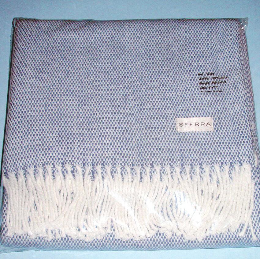 Sferra Terzo Brushed Cotton Throw Denim bluee 2-Tone Basket Weave 51x71   NEW