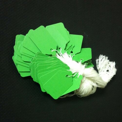 GREEN string tags price tags 1000 pre-strung tags merchandise pricing
