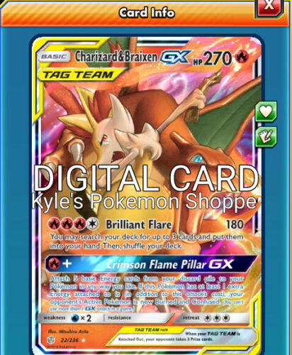 Charizard /& Braixen GX Pokemon TCG Online PTCGO SENT FAST 22//236 Cosmic Eclipse
