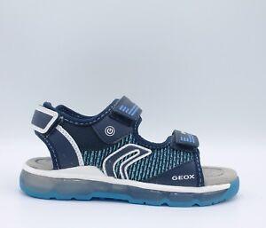 GEOX-ANDROID-J820QA-Sandali-Junio-con-luci-bambino-ragazzo-in-tessuto-blu-scuro