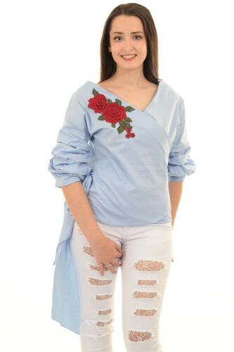 Ladies 3//4 Ruffle Sleeve Wrap Front Gingham Tie Up Floral Embroidery Blouse Top