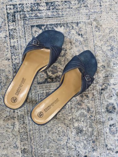 Vintage Denim Mules Square Toe 8.5