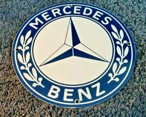 MERCEDES-BENZ-PORCELAIN-GAS-VINTAGE-STYLE-SERVICE-STATION-DEALERSHIP-SIGN