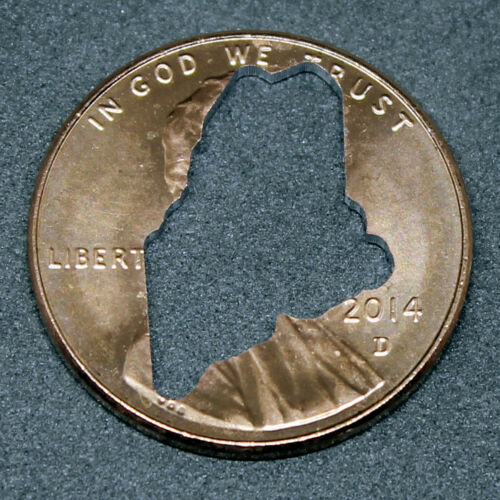 Lucky penny with Maine cut out
