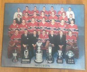 1959-60-Molson-039-s-Montreal-Canadiens-Photoprint-on-wood-Molson-Ashtray