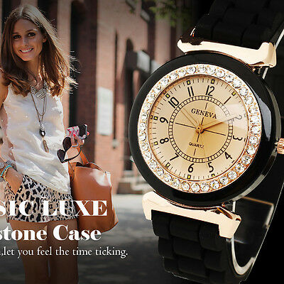 Fashion Black Women's Rhinestone Crystal Silicone Strap Band Quartz Wrist Watch