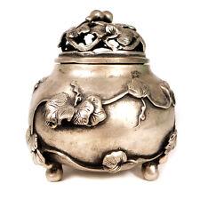 "Antique Chinese Signed Vines Leaves Design Pewter Urn 4.60"""