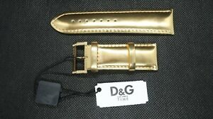 Genuine-D-amp-G-Dolce-amp-Gabbana-24mm-Gold-Coloured-Leather-Watch-Strap-New-With-Tags