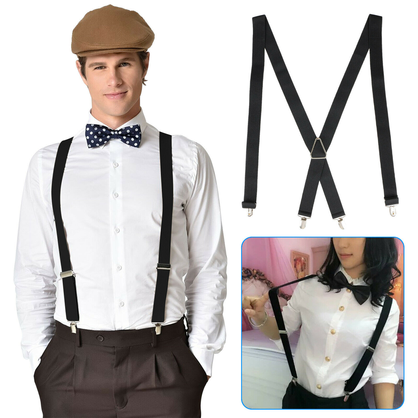 Button End and Strap Elastic Adjustable Solid Clip Suspenders MF-15 ELEOPTION Men/'s Classic Y-Back Suspender with Convertible Clip