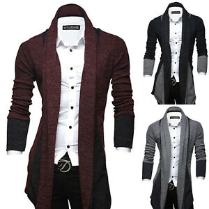 Luxury-Men-039-s-Casual-Slim-Fit-Long-Sleeve-Knitted-Cardigan-Knitwear-Trench-Coat