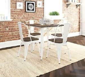 Details about Industrial Small Dining Table Metal Wood Top Seats 4 Kitchen  Nook White Brown