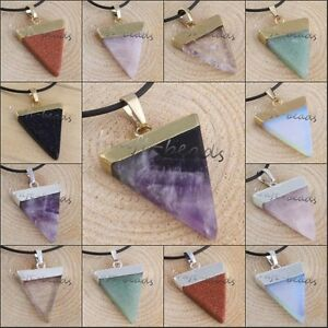 Healing-Chakra-Gemstone-Stone-Triangle-Pendulum-Bead-Pendant-Charms-Fit-Necklace