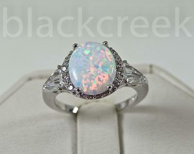 Contemplative 925 Sterling Silver~white Fire Oval Opal/micro Pave Ring Choose Size Beautiful And Charming Gemstone