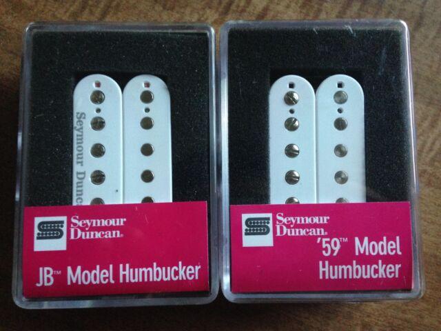 Seymour Duncan Sh-4 JB and Sh-1n 59 Model Humbucker Pickup Set White ...
