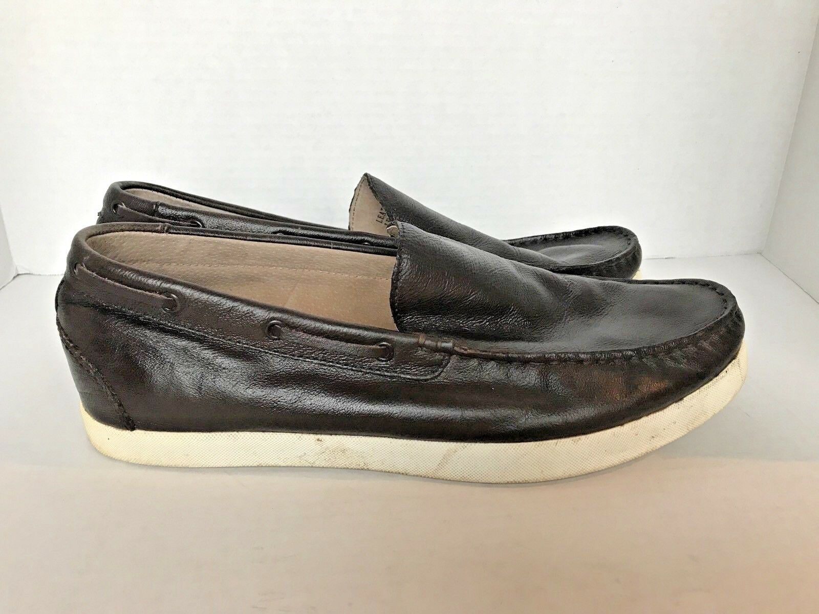 JOSEPH ABBOUD Men's Leather Size Loafers Slip Ons - Size Leather 8.5 Dark Brown 68eb20