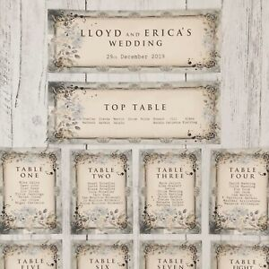Wedding Table Plan Cards Seating Planner Vintage Style Blue Ebay