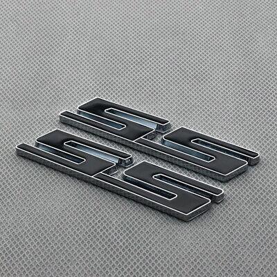 2Pcs Red Coated Metal Fender SS Letter Emblem Chrome Rear Lid Badge for Camaro