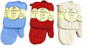 3-Piece-Oven-Pot-Holder-Kitchen-Set-Solid-Colors-Choice-1-Mitt-2-Holders-New