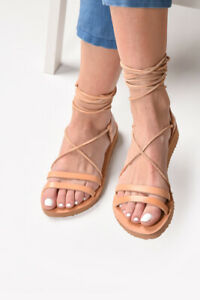 Ancient Greek style lace up natural