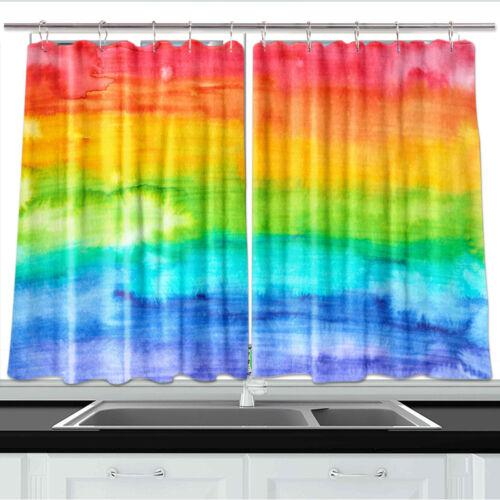 "Rainbow Hand Drawn Kitchen Curtains 2 Panel Set Decor Window Drapes 55 X 39/"""
