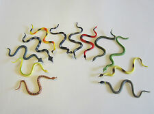 "3 RAIN FOREST RUBBER SNAKES 6"" TOY REPTILE FAKE PRETEND JUNGLE SNAKE GAG GIFT"