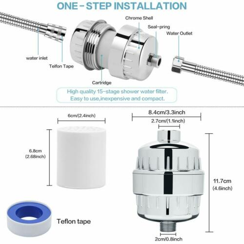 15-Stage Shower Filter Shower head Filter Hard Water Filter Replaceable