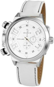 Excellanc-Herrenuhr-Weiss-Silber-Chrono-Look-Kunstleder-Armbanduhr-X295122100004