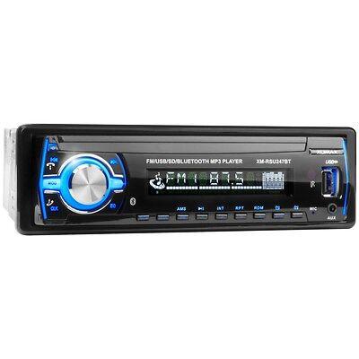 AUTORADIO MIT BLUETOOTH USB+SD=64GB MP3 ID3 AUX-IN 1DIN SINGLE DIN OHNE CD BLAU
