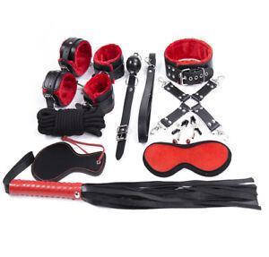 Red-Handcuffs-Toys-Couples-Leather-Bondage-Sex-Tool-Slave-Restraint-Nipple 10pcs