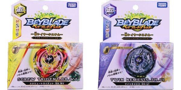 Beyblade Burst B-102 Doppie Nemesis.3h.ul & B-103 Booster Vite Trident. 8 B. WD