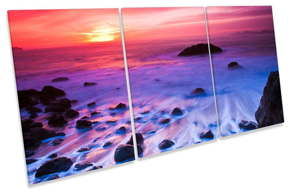 Ocean FLORA SUNSET TREBLE TELA parete arte foto stampa